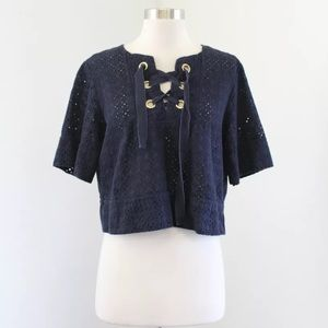 Zara Navy Eyelet Lace Lace Up Crop Top